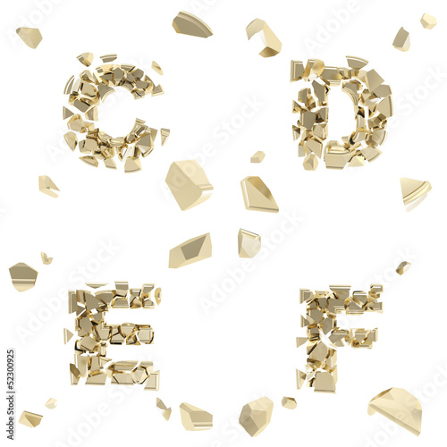 Abc alphabet symbol broken into tiny glossy pieces