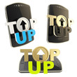 Top-up emblem icon over smart mobile phone