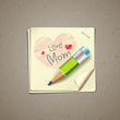 Happy Mothers Day paper note, vector