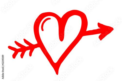 Amors Pfeil durch rotes Herz