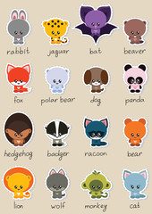Animal stickers set