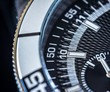 Close up of a steel chronograph, selective focus