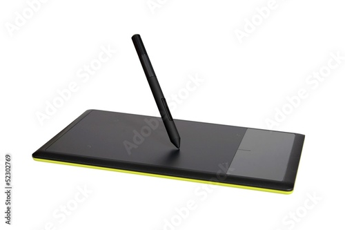 Drawing tablet isolated on white with clipping path.