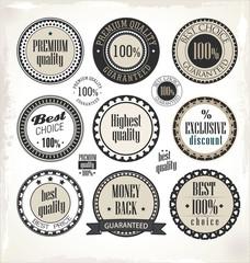 Vector set of vintage PREMIUM QUALITY labels