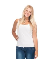 teenager girl in blank white t-shirt