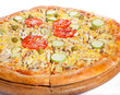 Vegetable pizza made from bio cheese, tomato, olive, mushroom, p