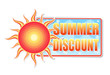 summer discount in label with sun