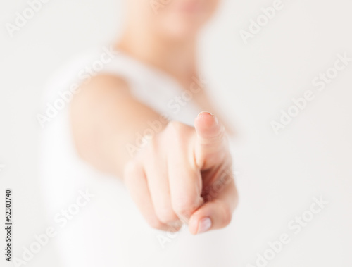 woman pointing her finger at you Poster