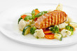 A Tasty food .Grilled salmon and vegetables. High quality image