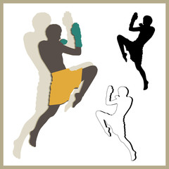 Flying knee of muay thai (Martial Arts) in silhouette