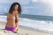Sexy Woman Girl Bikini Sitting on Beach