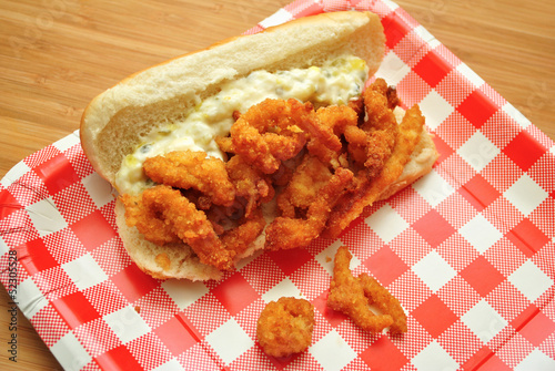 Clam Sandwich with Tarter Sauce on a Picnic Plate