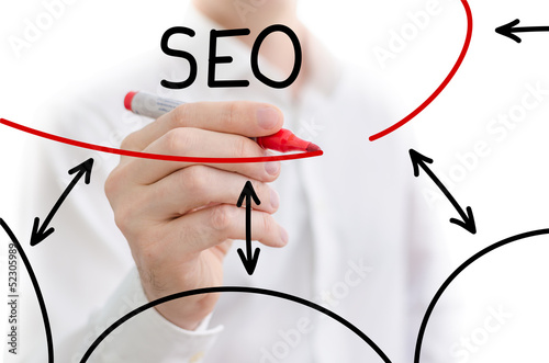 Search engine optimization written on a white board