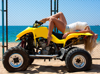 beautiful girl on a quad
