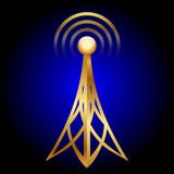 Vector gold antenna icon on blue background
