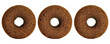 Three dark brown doughnuts in a row