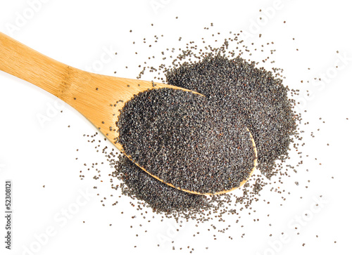 Heaped spoonful of poppy seeds on white background