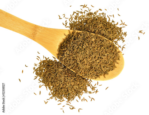 Large spoonful of caraway seeds on white background