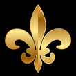 Vector gold Fleur-de-lis ornament on black