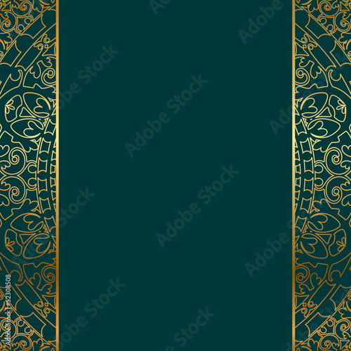 Vector turquoise & gold ornate border