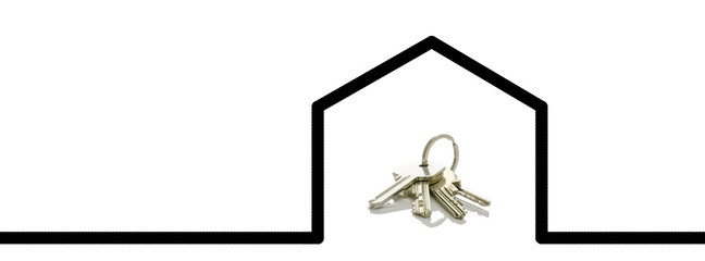 Keys in  computer drawn shape of a house