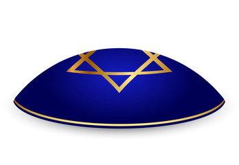 Vector illustration of kippah with David star