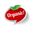 Organic label with leaf vector