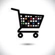 abstract colorful shopping cart icon or symbol- vector graphic