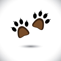 Footprint pair of cat's or kitten's claws- concept vector graphi