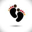 Child or toddler's colorful pair of footprint- vector graphic