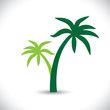Coconut palm tree icons or symbols of travel- vector graphic