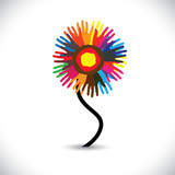 Colorful hand & palm imprints of people as flower- vector graphi poster