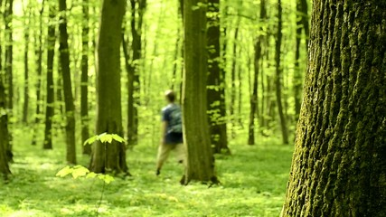 Man walk in the forest