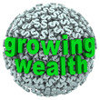 Growing Wealth Words Dollar Sign Ball Earn Income