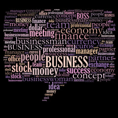 Business related word cloud - speech bubble