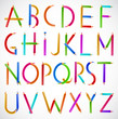 Colorful alphabet of pencils. Vector