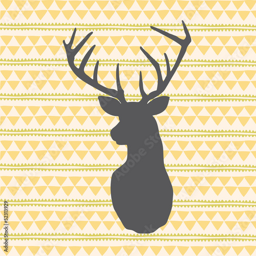 Vector deer antlers over geometric background