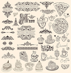 Vector set of floral ornaments and elements for design menu