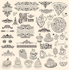 Vector set of floral ornaments and elements for design menu