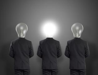 Lamp head businessman, Idea concept