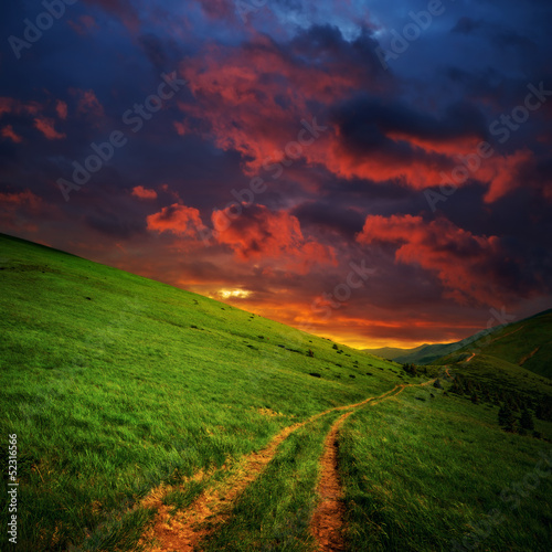 hills and road to red clouds