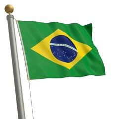 Die Flagge von Brasilien flattert am Fahnenmast
