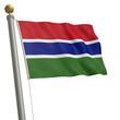 Die Flagge von Gambia flattert am Fahnenmast