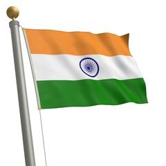 Die Flagge von Indien flattert am Fahnenmast