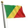 Die Flagge von Kongo flattert am Fahnenmast
