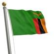 Die Flagge von Sambia flattert am Fahnenmast