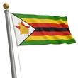 Die Flagge von Simbabwe flattert am Fahnenmast
