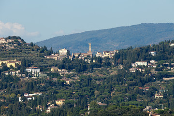 Florence - the view on Fiesole from the dome Duomo