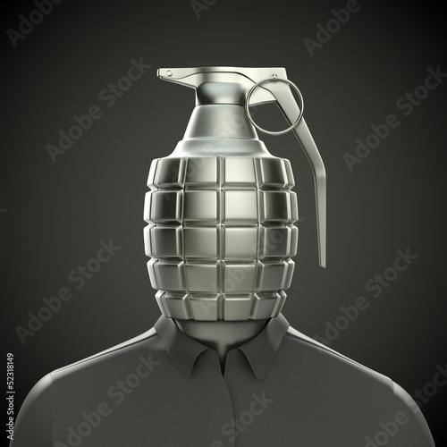 Handgranate als Kopf - Terrorist / Selbstmordanschlag