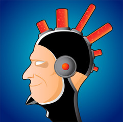 Profile of human with iroquois - vector illustration